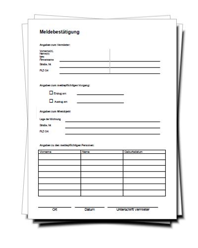 Meldebestätigung formular